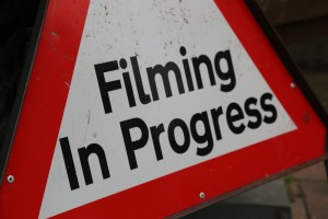 Filming in Progress set sign